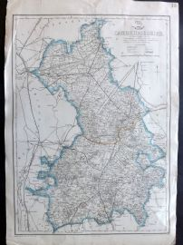 Weekly Dispatch C1860 Antique Map. Cambridgeshire
